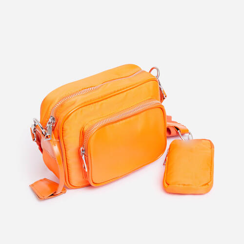 Keyla Mini Purse Detail Cross Body Bag In Orange Nylon