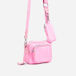 Keyla Mini Purse Detail Cross Body Bag In Pink Nylon