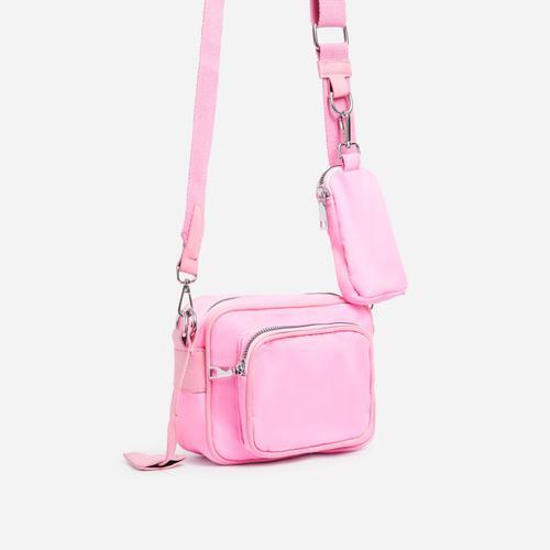 Keyla Mini Purse Detail Cross Body Bag In Pink Nylon