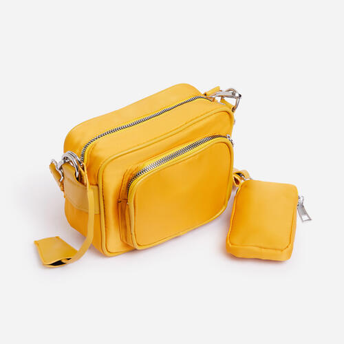 Keyla Mini Purse Detail Cross Body Bag In Yellow Nylon