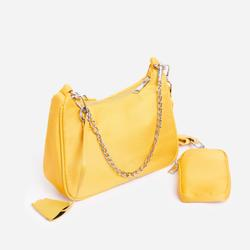 Melody Purse Detail Cross Body Bag in Yellow nylon