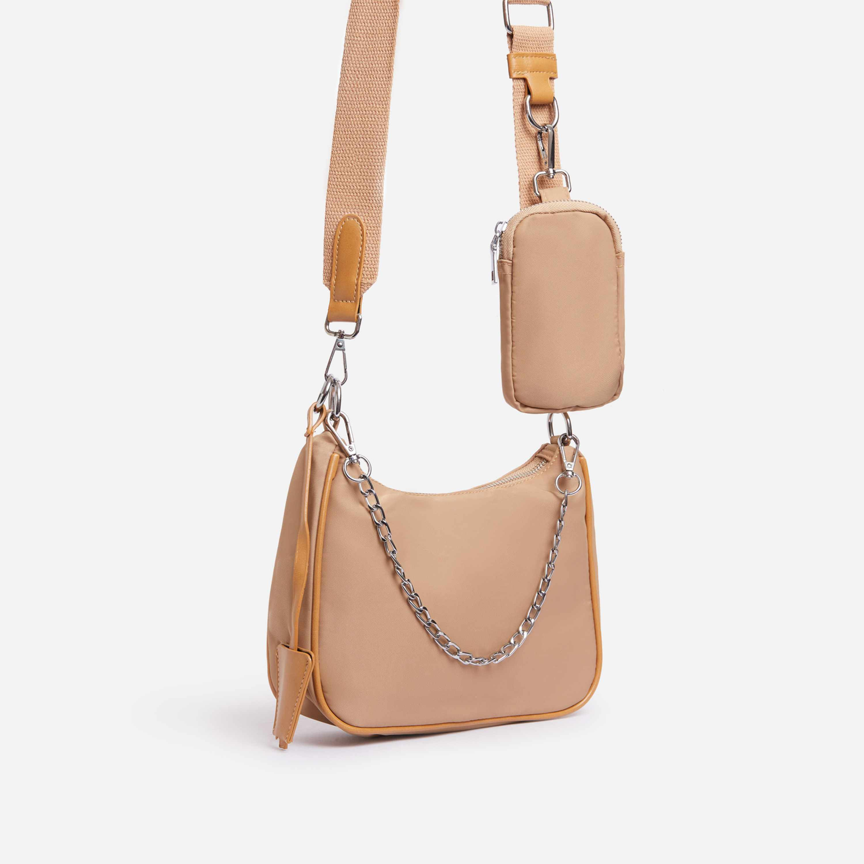 Melody Purse Detail Cross Body Bag In Nude Nylon