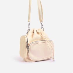 Dixon Purse Detail Cross Body Bucket Bag In Nude