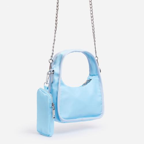 Skye Purse And Chain Detail Shoulder Bag In Blue Nylon