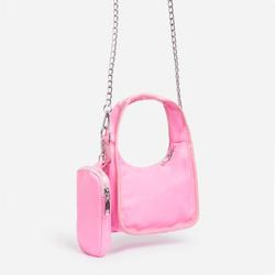 Skye Purse And Chain Detail Shoulder Bag In Pink Nylon
