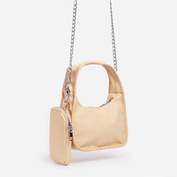 Skye Purse And Chain Detail Shoulder Bag In Nude Nylon