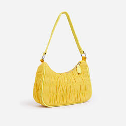 Eilish Ruched Detail Shoulder Bag in Yellow Nylon