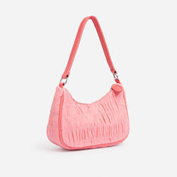 Eilish Ruched Detail Shoulder Bag in Pink Nylon