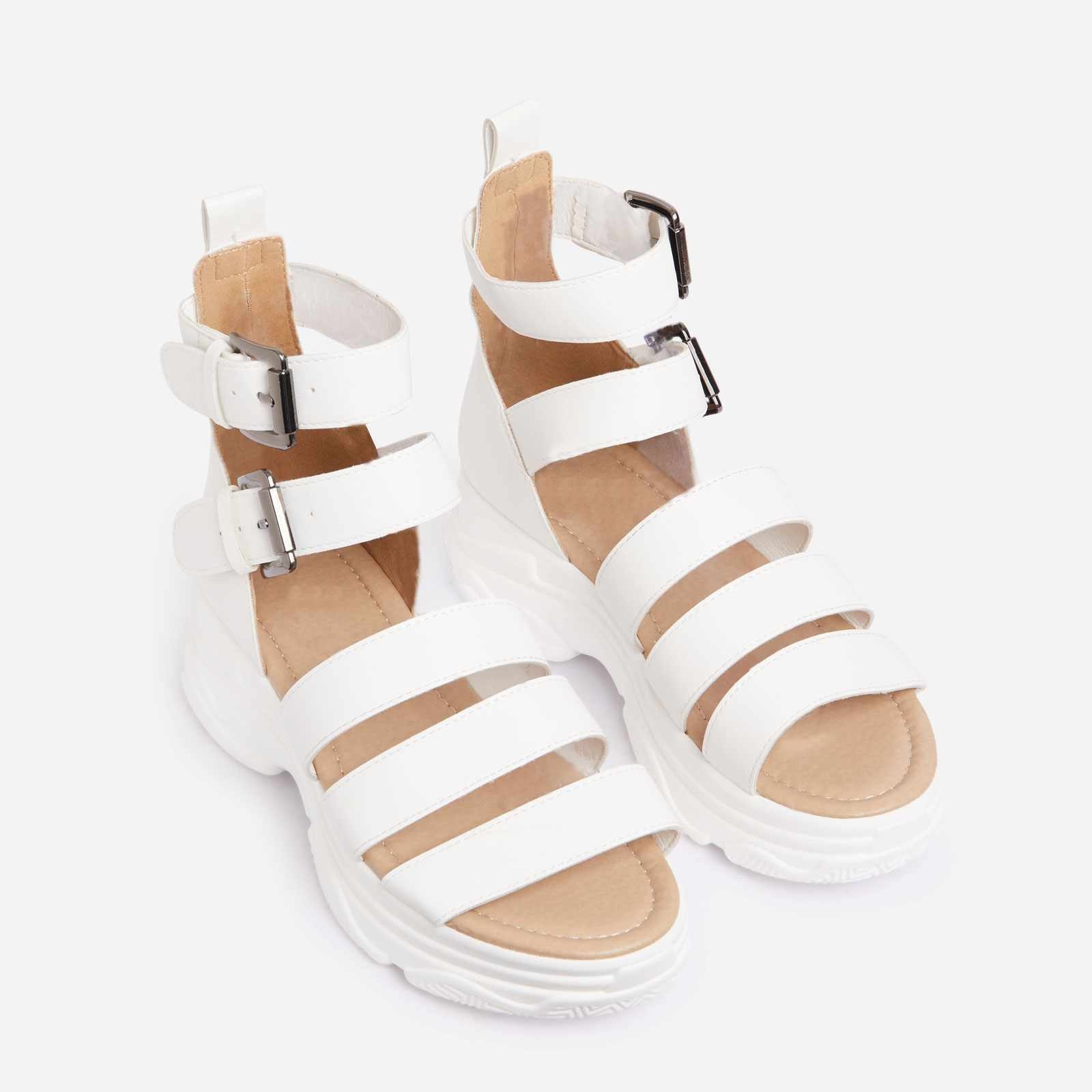 Cristiano Chunky Sole Flat Gladiator Sandal In White Faux Leather
