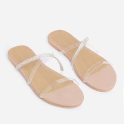 Rayla Diamante Detail Perspex Flat Slider Sandal In Nude Faux Leather