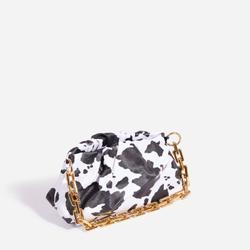 Martha Chain Detail Pouch Bag In Cow Print Faux Leather