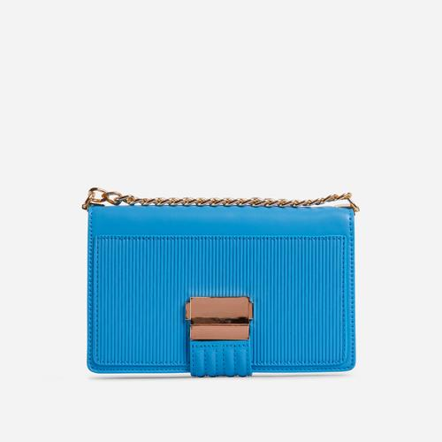 Billen Ribbed Detail Clutch Bag In Blue Faux Leather
