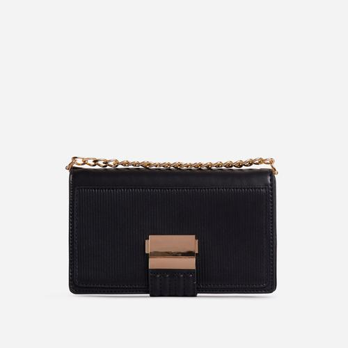 Billen Ribbed Detail Clutch Bag In Black Faux Leather