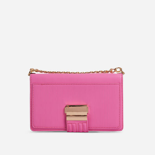 Billen Ribbed Detail Clutch Bag In Pink Faux Leather