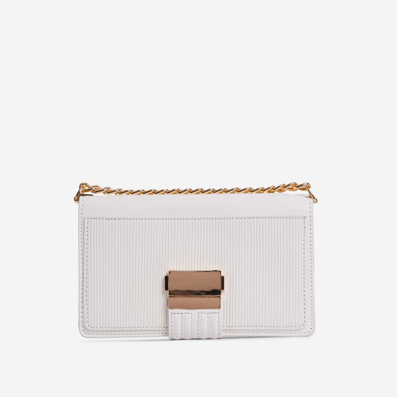 Billen Ribbed Detail Clutch Bag In White Faux Leather