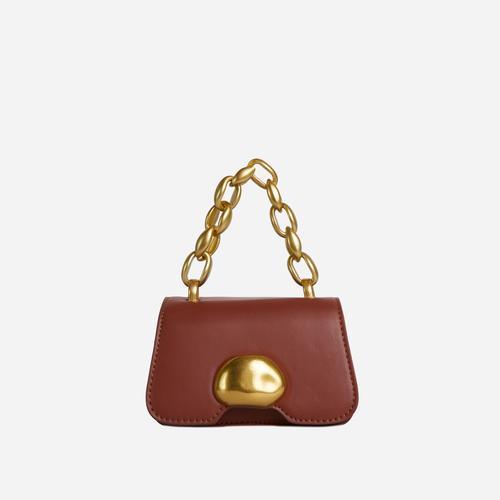Juniper Chain Strap Detail Mini Grab Bag In Tan Brown Faux Leather