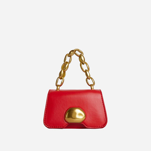 Juniper Chain Strap Detail Mini Grab Bag In Red Faux Leather
