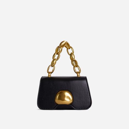 Juniper Chain Strap Detail Mini Grab Bag In Black Faux Leather