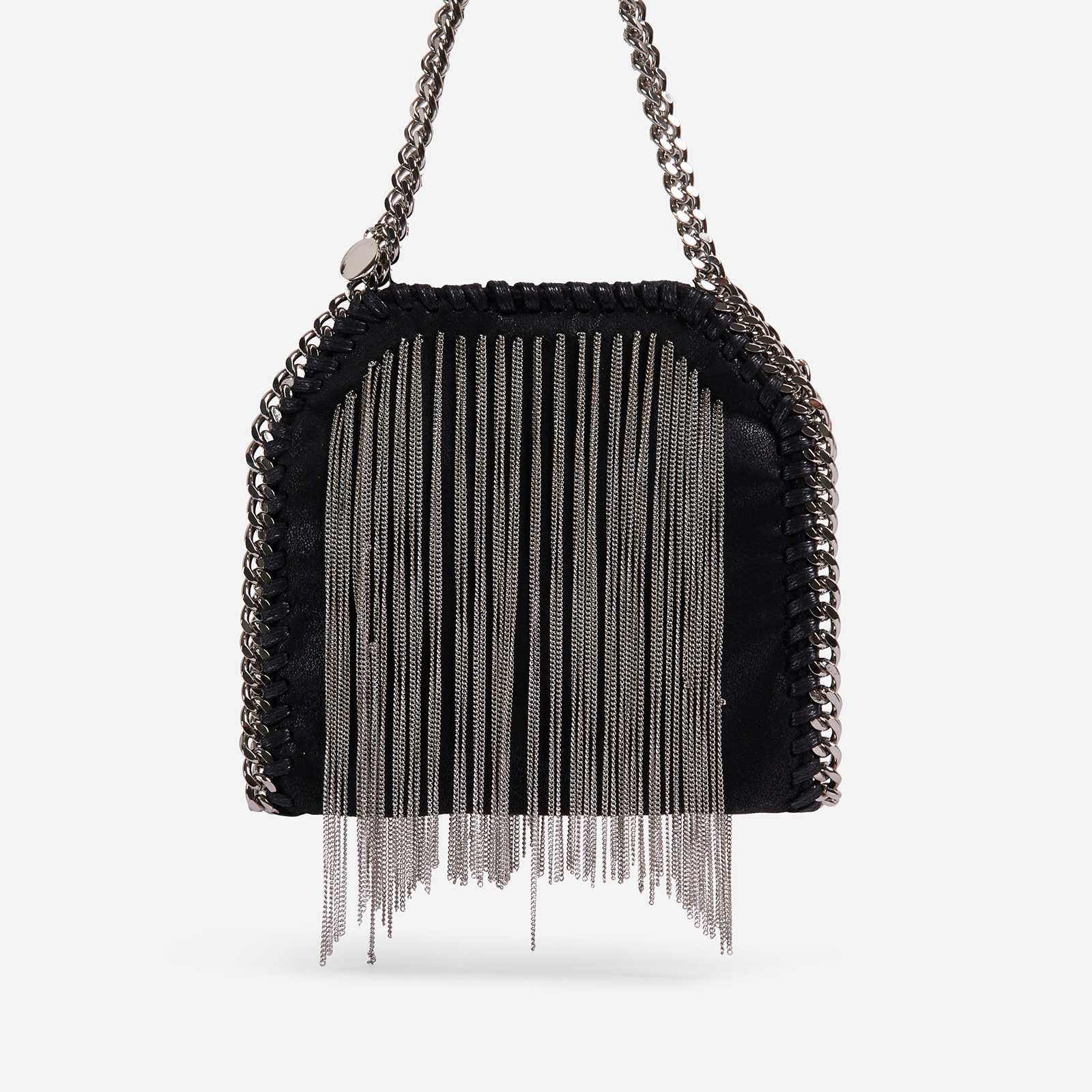Jessi Silver Tassel Detail Chain Strap Shoulder Bag In Black Faux Leather