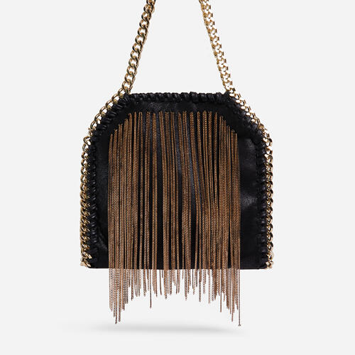 Jessi Gold Tassel Detail Chain Strap Shoulder Bag In Black Faux Leather