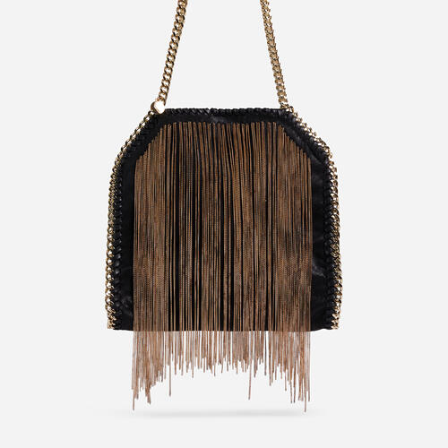 Monta Gold Tassel Detail Chain Strap Large Shoulder Bag In Black Faux Leather