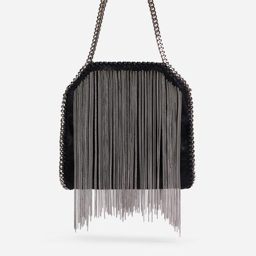 Monta Silver Tassel Detail Chain Strap Large Shoulder Bag In Black Faux Leather