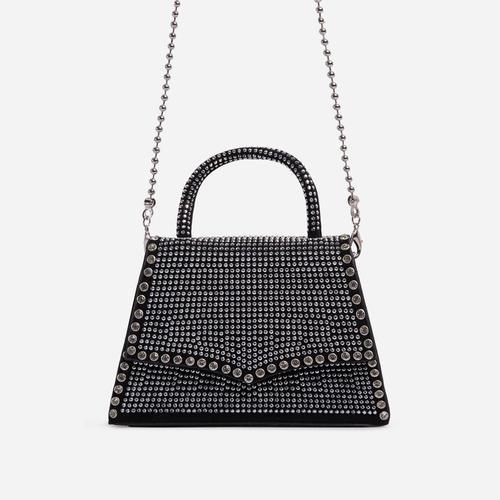 Glow Diamante Detail Mini Grab Bag In Silver