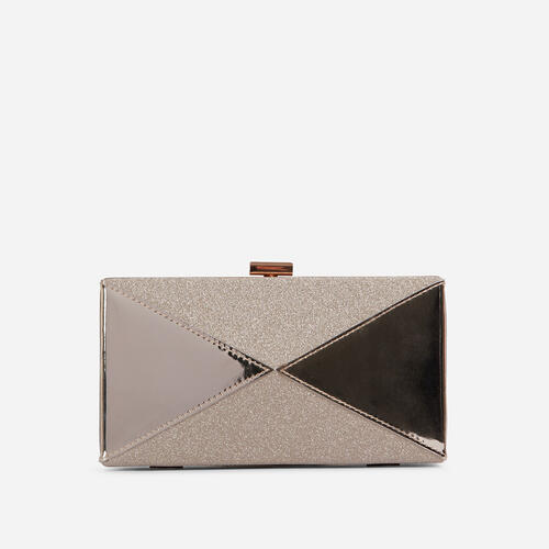 Nicole Glitter Detail Box Clutch Bag In Gold Patent