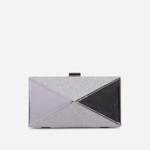 Nicole Glitter Detail Box Clutch Bag In Silver Patent