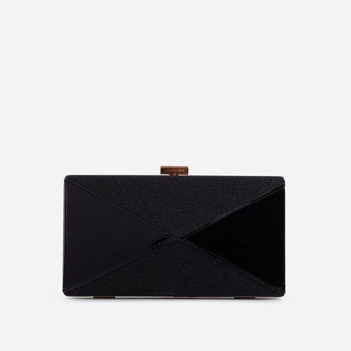 Nicole Glitter Detail Box Clutch Bag In Black Patent