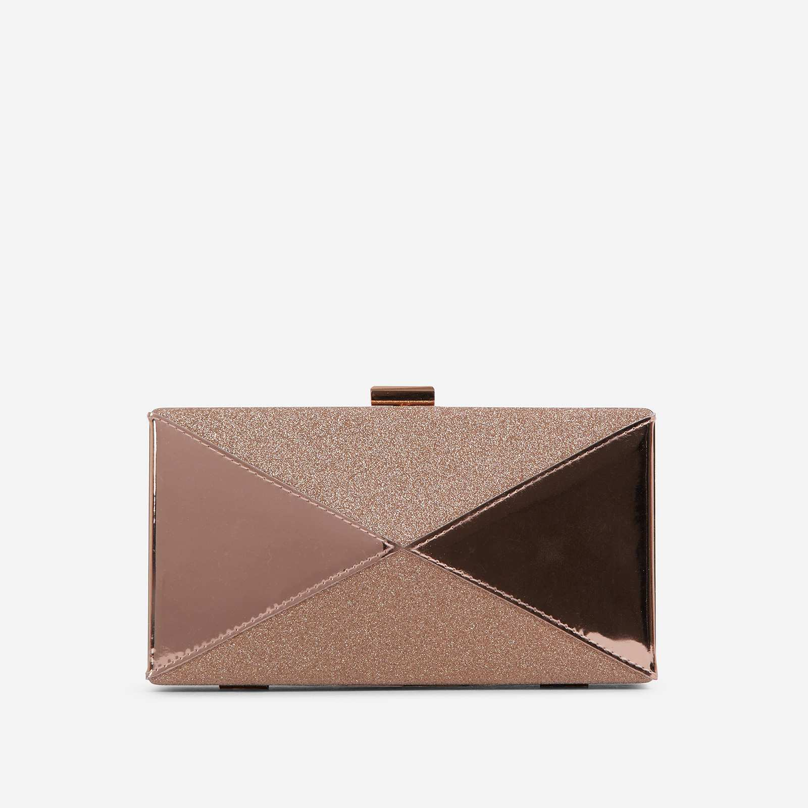 Nicole Glitter Detail Box Clutch Bag In Rose Gold Patent