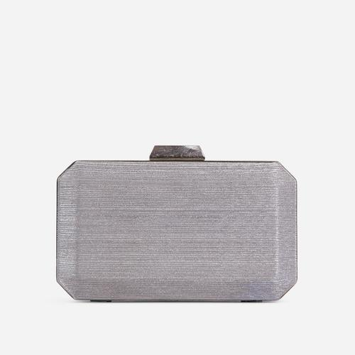 Greta Textured Detail Shaped Box Clutch Bag In Silver