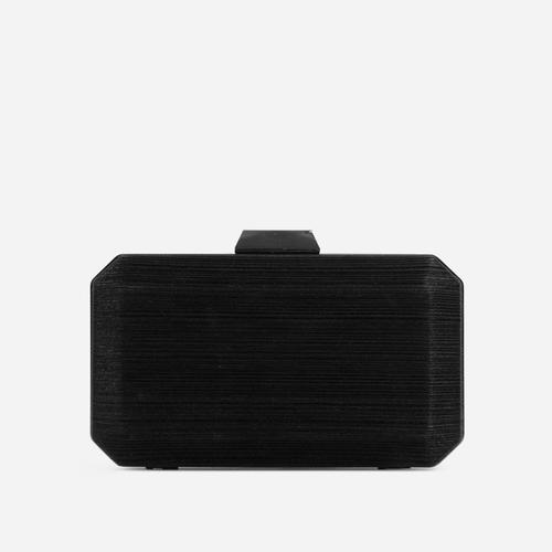 Greta Textured Detail Shaped Box Clutch Bag In Black