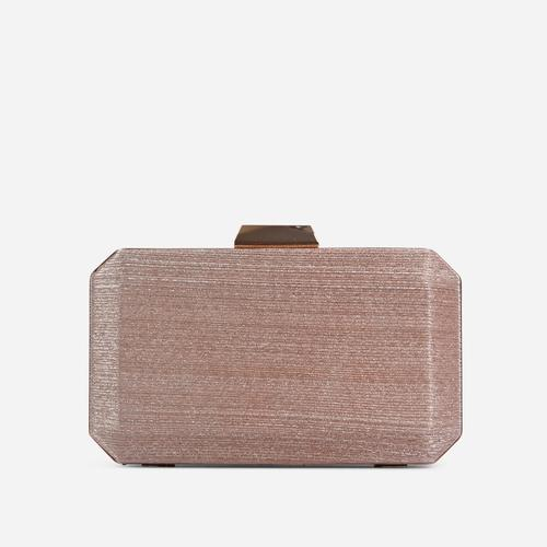 Greta Textured Detail Shaped Box Clutch Bag In Rose Gold
