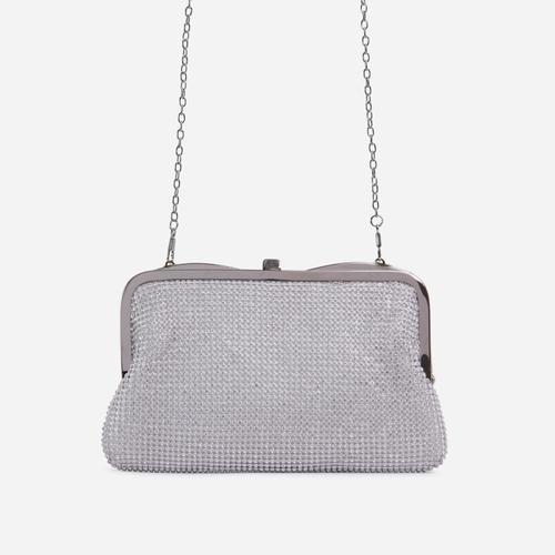 Emilia Diamante Cross Body Bag In Silver