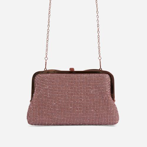 Emilia Diamante Cross Body Bag In Rose Gold
