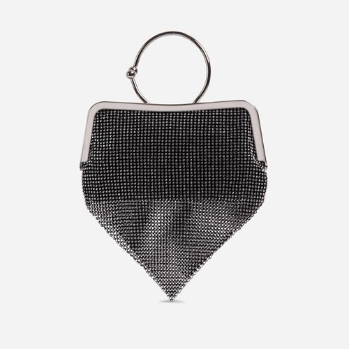 Richie Hoop Wrist Detail Chainmail Bag In Black