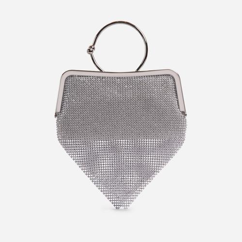 Richie Hoop Wrist Detail Chainmail Bag In Silver
