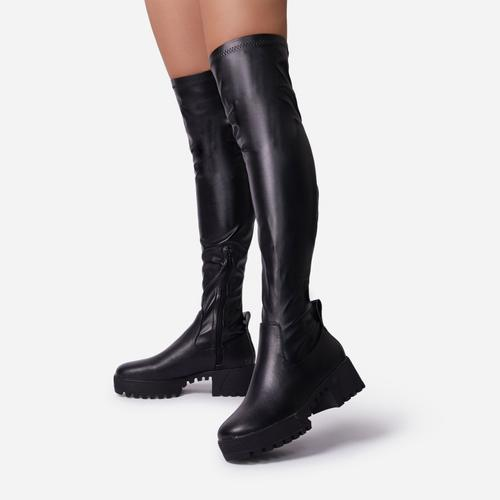 Colorado Over The Knee Thigh High Long Sock Boot In Black Leather