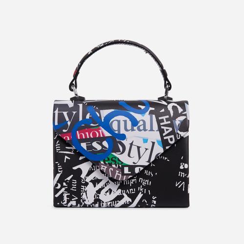Thorne Multi Print Envelope Grab Bag In Black Faux Leather
