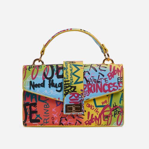 Paint Buckle Detail Graffiti Grab Bag In Multi Colour
