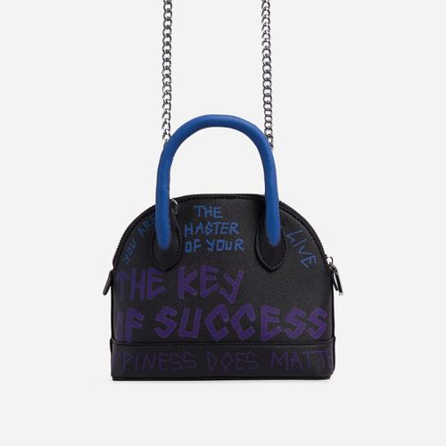 Crayon Blue Slogan Detail Rounded Bowling Bag In Black Faux Leather