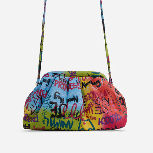 Angeles Graffiti Detail Ruched Cross Body Bag In Multi
