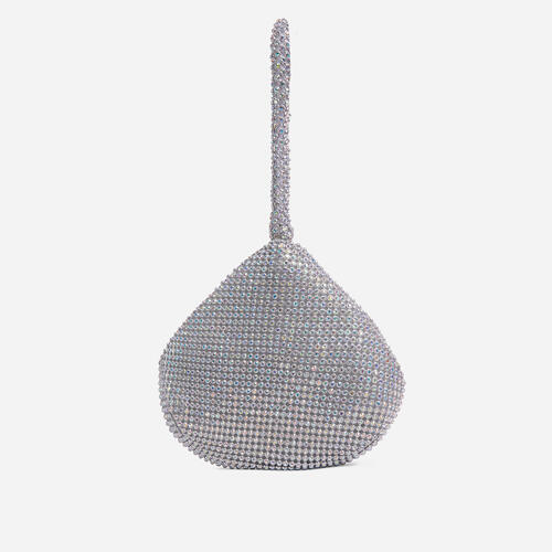 Melbourne Chainmail Pyramid Grab Bag In Silver Diamante