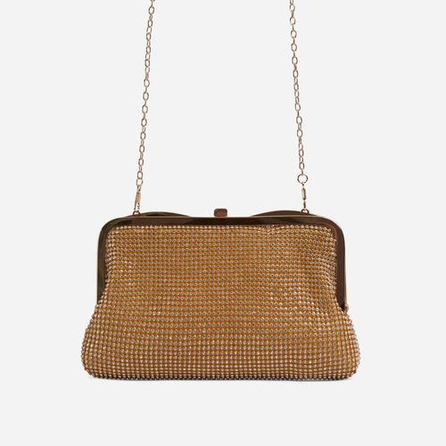 Emilia Diamante Cross Body Bag In Gold