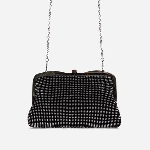 Emilia Diamante Cross Body Bag In Black