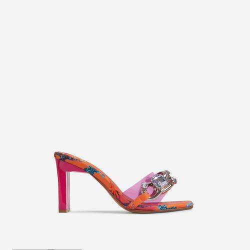 Serna Pink Perspex Strap Diamante Gem Chain Detail Square Peep Toe Thin Block Heel Mule In Orange Print