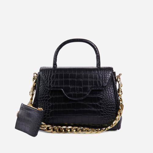 Rosa Chain And Purse Detail Tote Bag In Black Croc Print Faux Leather