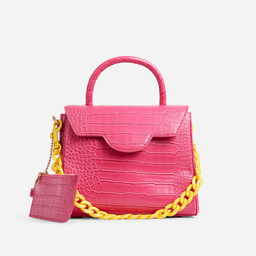 Rosa Yellow Chain And Purse Detail Tote Bag In Pink Croc Print Faux Leather