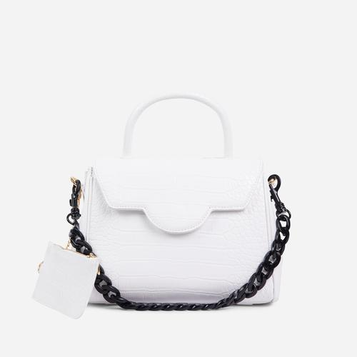 Rosa Black Chain And Purse Detail Tote Bag In White Croc Print Faux Leather